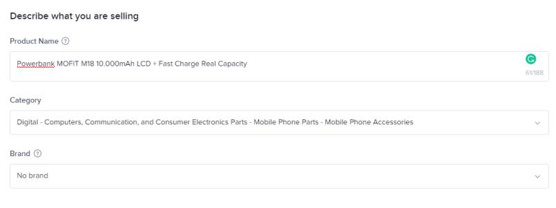 input nama produk dan kategori di tiktokshop
