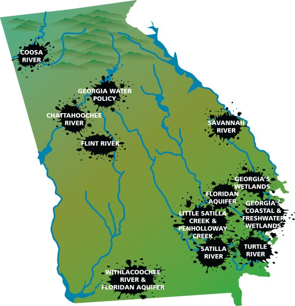 Map Of Georgia Lakes And Rivers.Map Of Ga Lakes Year Of Clean Water