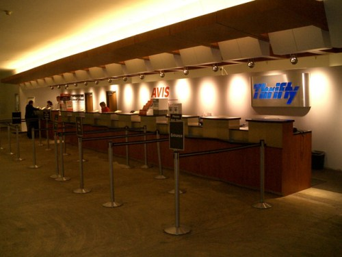 Airport Car Rental Counters at an Airport