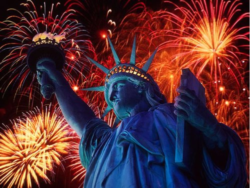 4th of July Fireworks at Statue of Liberty, New York Harbor