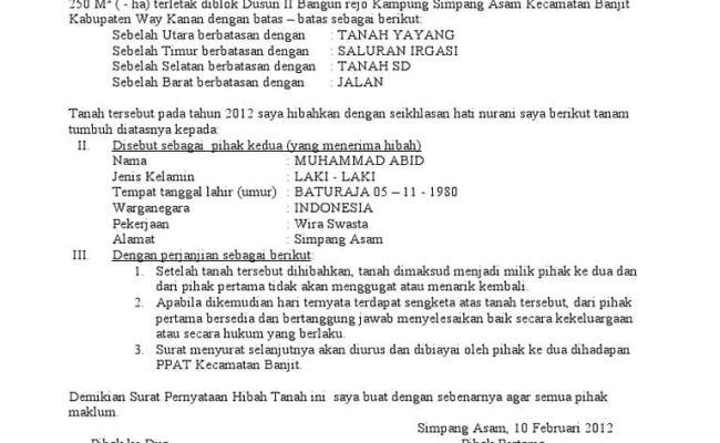 Contoh Surat Wakaf Tanah Untuk Mushola Contoh Seputar Surat
