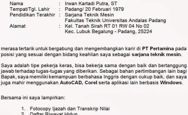 Contoh Surat Lamaran Kerja Untuk Pertamina Cute766