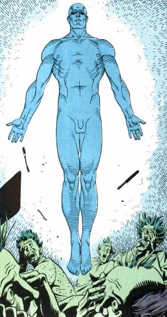 Dr. Manhattan en el comic... en la película está más gráfico y mucho más dotado! :S