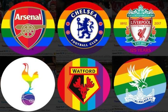 Clubes alteraram seus perfis no Twitter e agregaram as cores da bandeira LGBT em seus símbolos oficiais