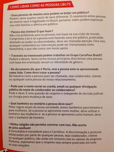 Manual para funcionários distribuído pelo Carrefour em 2014