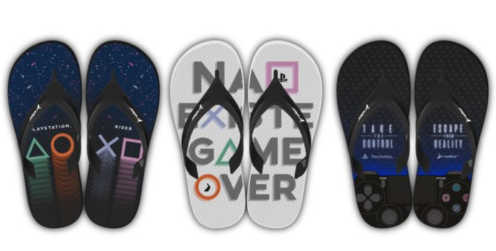 "Rider + Playstation, estampas ""Controle"", ""Game Over"" e ""Símbolos"", respectivamente rider playstation"
