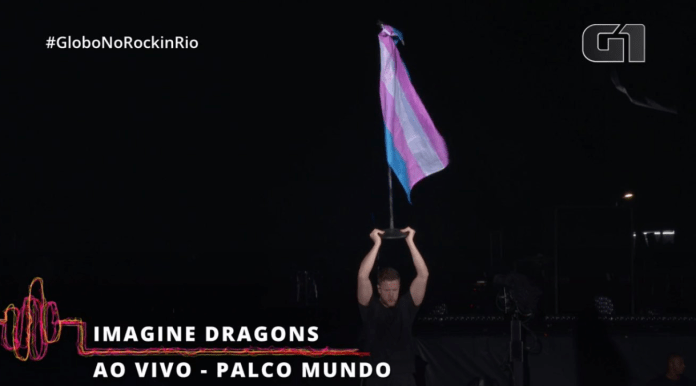 Dan Reynolds, do Imagine Dragons, literalmente levantou a bandeira trans no Rock in Rio