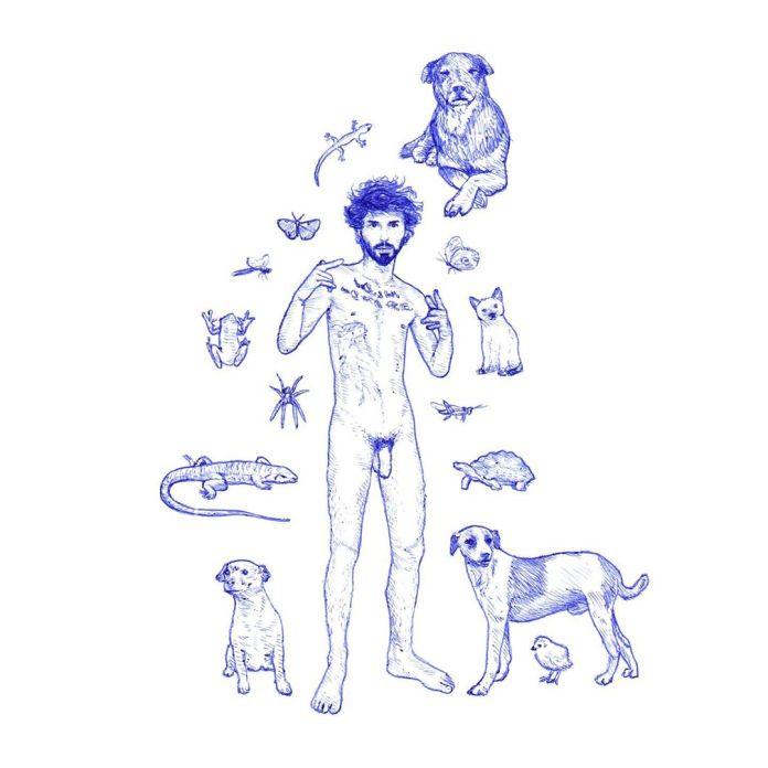 caneta azul Projeto apresenta nu masculino através de rotoscopia