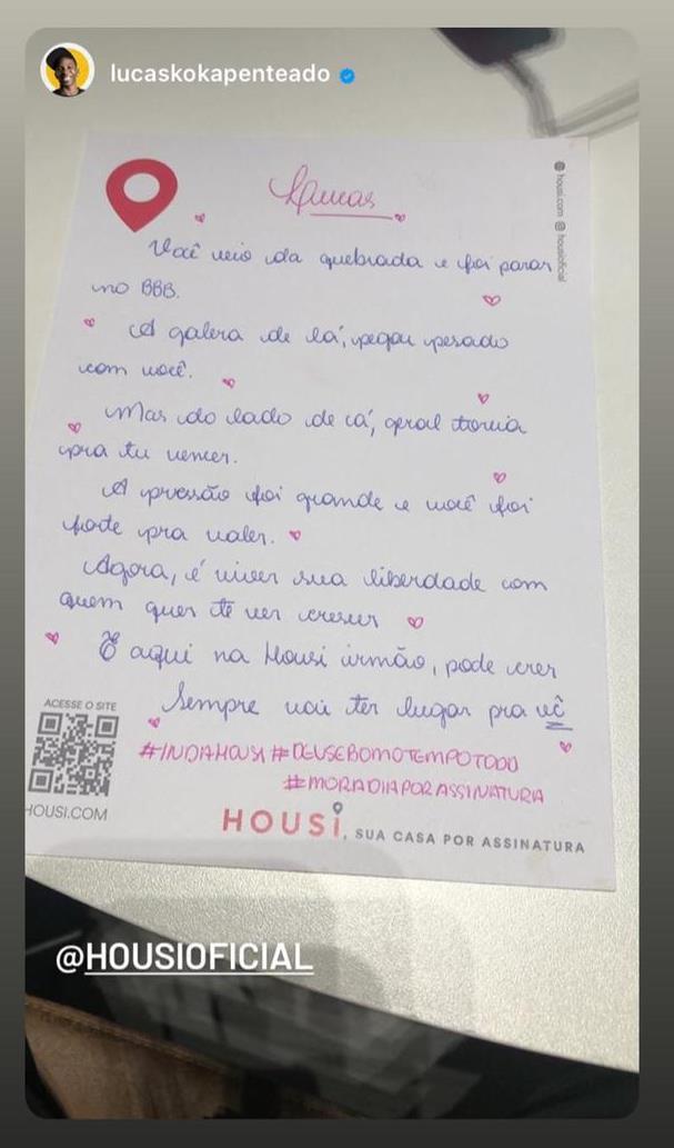 Carta da Housi que Lucas recebeu - Reprodução/ Instagram