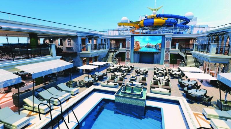 Projeção do deck e piscina do Costa Venezia Divulgação navio