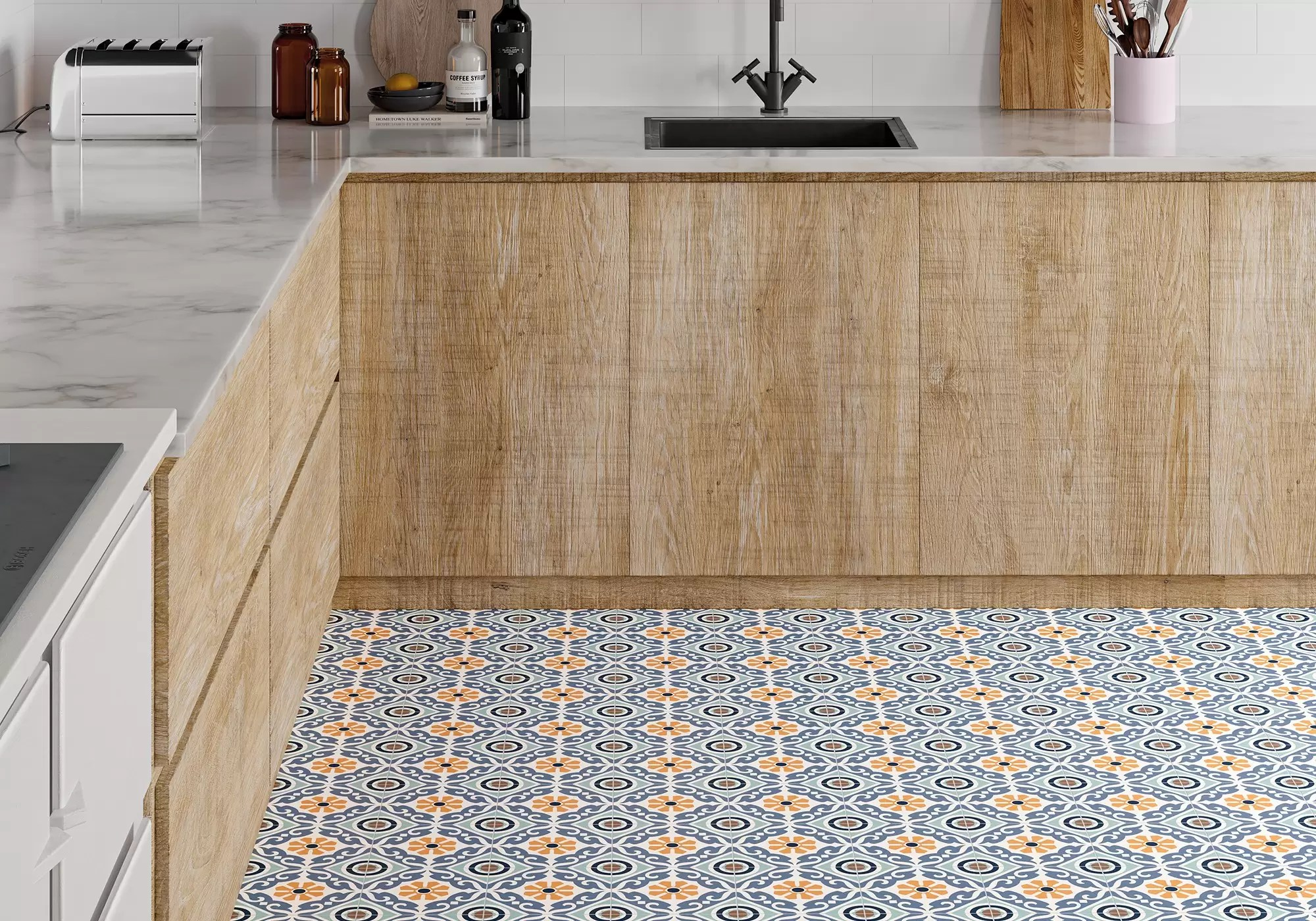 Musa Mix by Gayafores hydraulics porcelain tiles