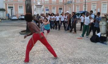 Me playing capoeira on the street
