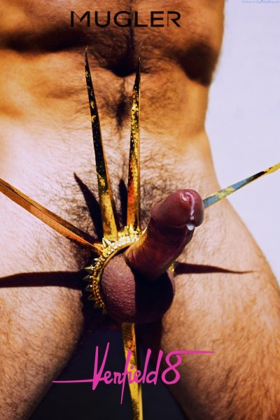 hard cumming cock with a colorvul spiked cock ring around the base