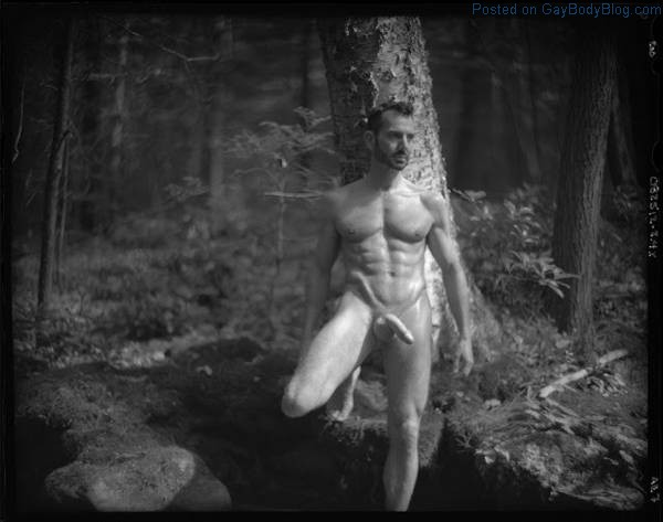 Hung male model Bryan Slater in the woods