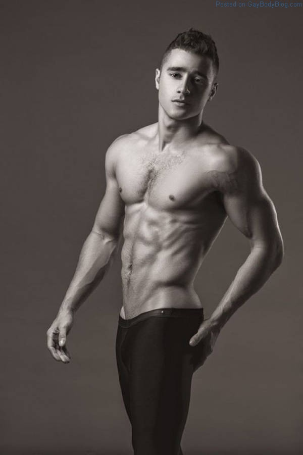 Male model Lance Syverson posing shirtless for Hayden Su