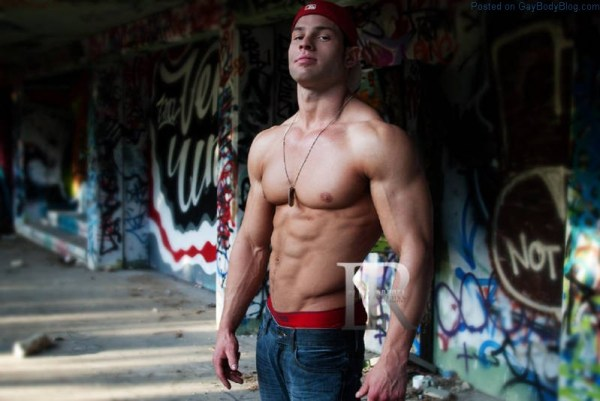 handsome shirtless muscle man outside