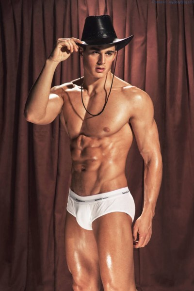 Pietro Boselli in cowboy hat and white underwear