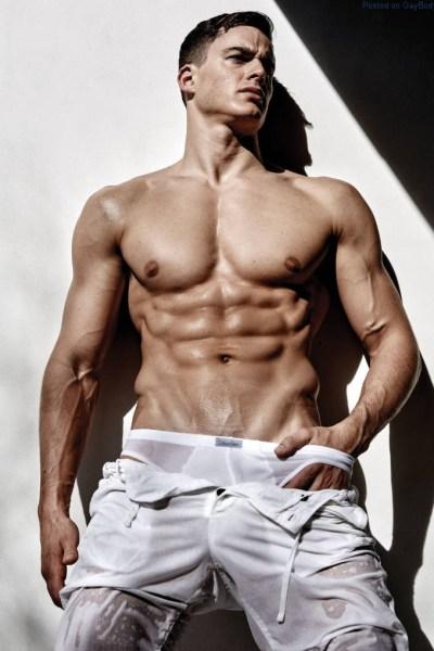 Male model Pietro Boselli in wet underwear
