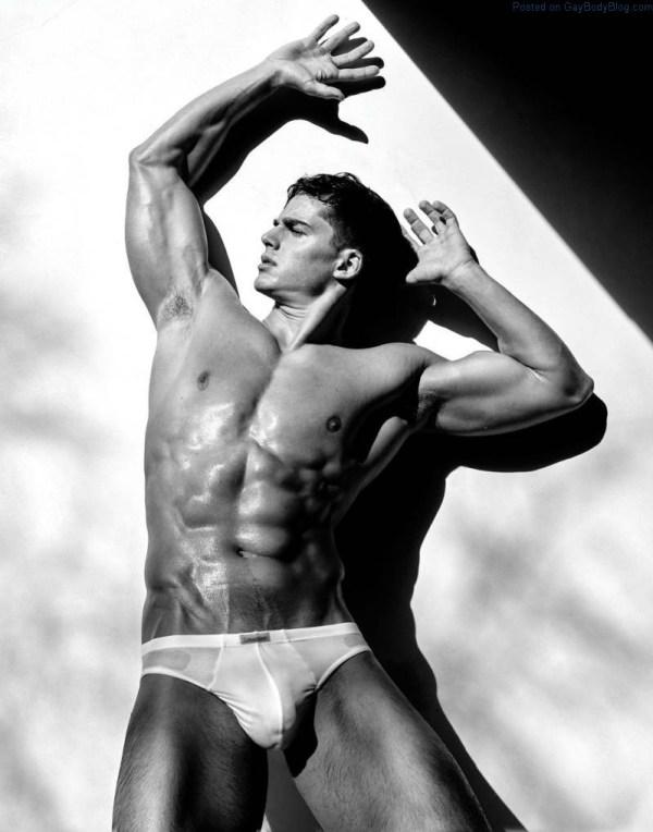 sexy male model Pietro Boselli in white underwear