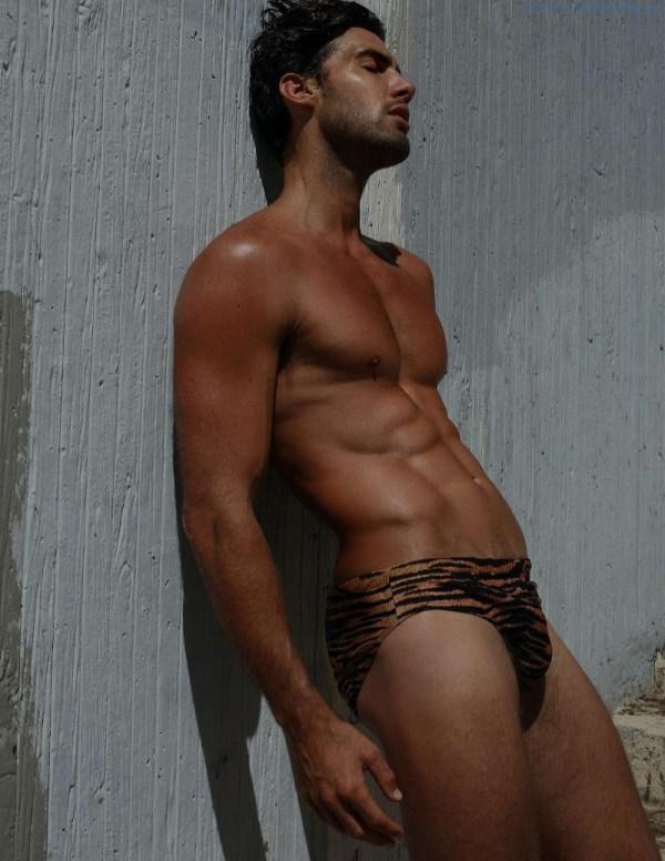 male model Mitchell Wick in tiger print underwear
