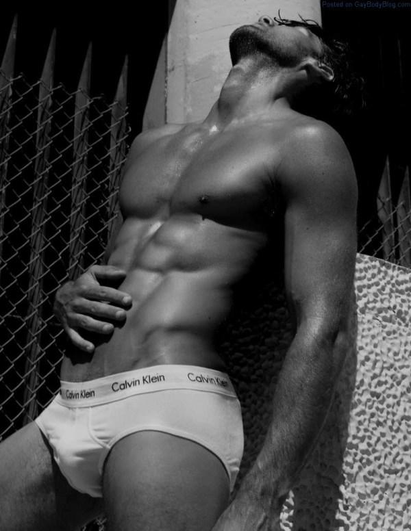 jock model Mitchell Wick in white underwear