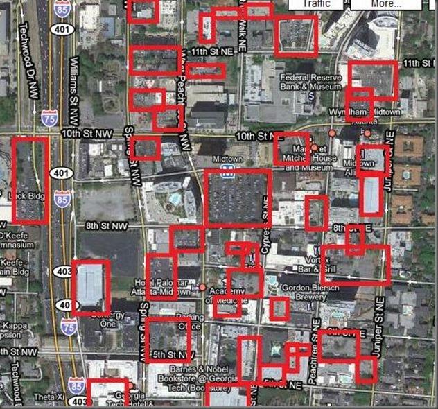 red marks amount of land taken up by parking in atlanta