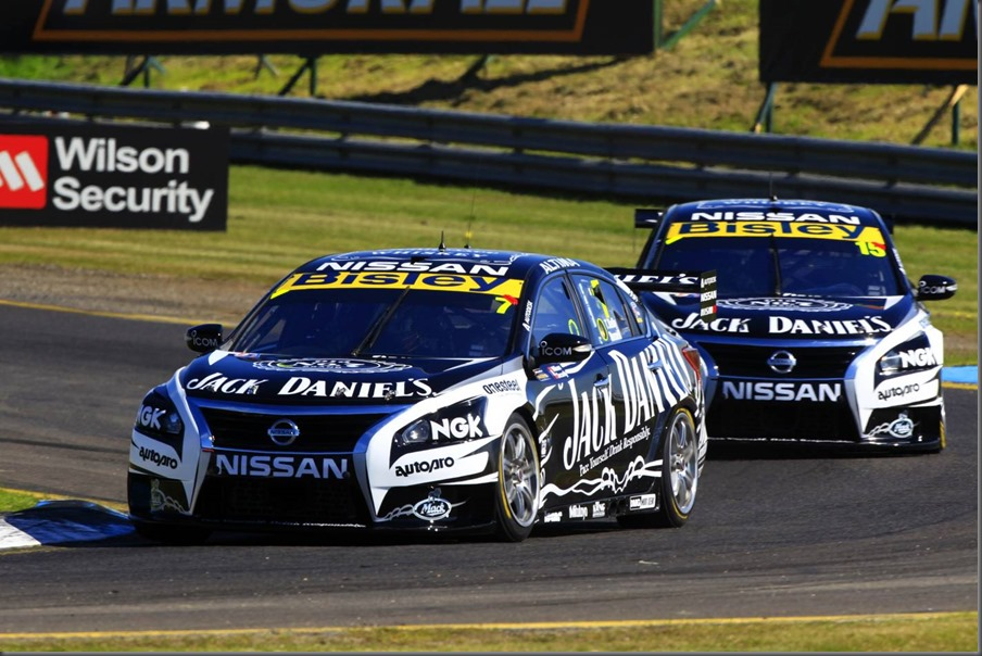 The two Jack Daniel's Nissan Altima V8 Supercars on-track at Sandown