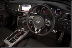 2016 Kia Optima GT Turbo black leather interior.