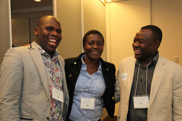 LGBT activists Gift Trapence of Malawi, Juliet Mphande of Zambia, and Chesterfield Samba of Zimbabwe at a December 10 reception hosted by IGLHRC. | MICHAEL LUONGO