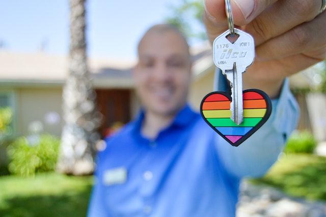 Gay Real Estate Rainbow Heart Key