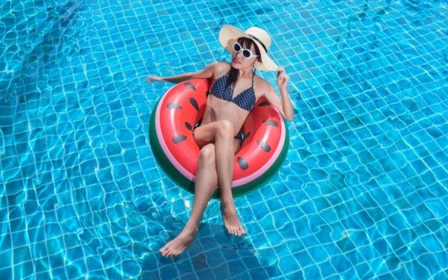 Woman Pool Floating