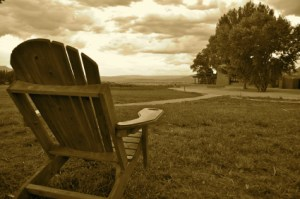 Adirondack chair and landscape