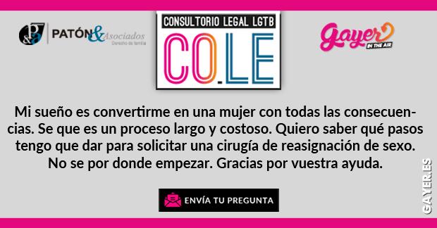 CONSULTORIO LEGAL LGTB REASIGNACIÓN DE CAMBIO DE SEXO