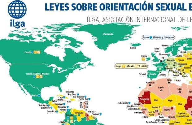 1 - Leyes sobre orientación sexual en el mundo - Mapa general | Fuente Img. ilga