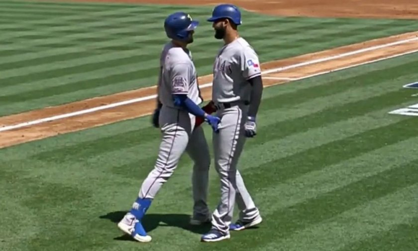 Baseball Players Celebrate Home Run With Frisky Handshake - Gayety