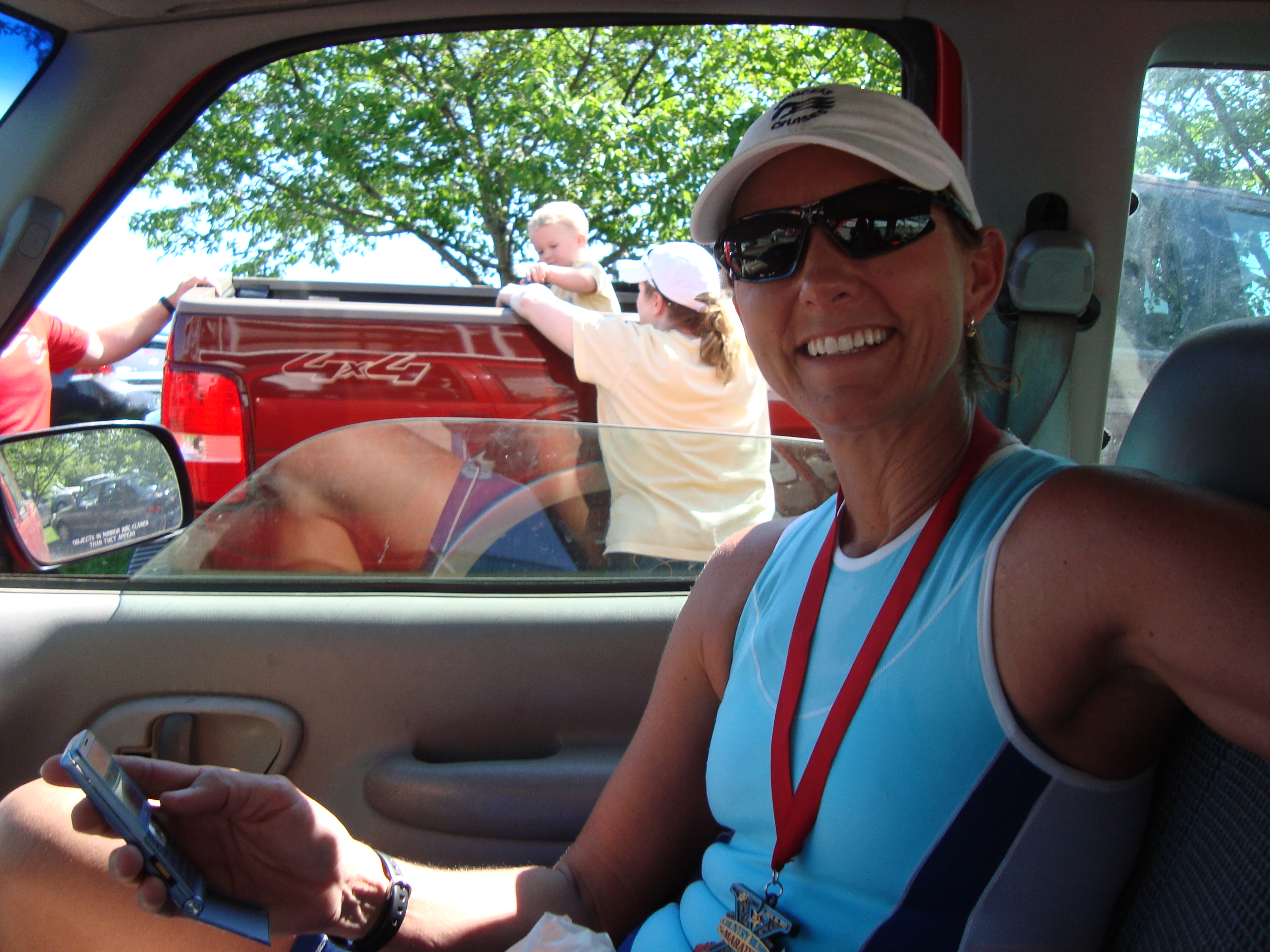 relaxing in the truck, post race