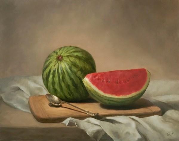 """Watermelon Summer"" - Oil on copper, 11x14"""