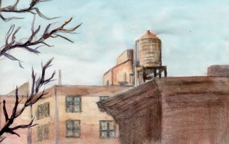"""""""4th Avenue Rooftops"""" - 5x7"""