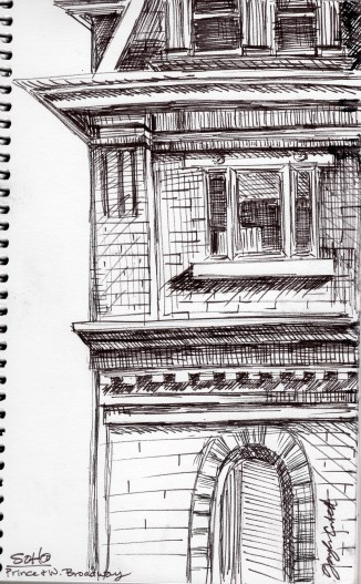 Soho, Prince & West Broadway, NYC. I love the architecture down there.