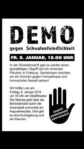 Aufruf zur Demo gegen homophobe Gewalt in Freiburg.