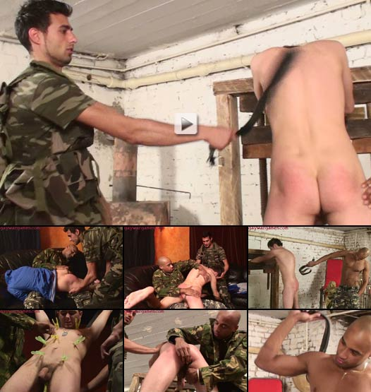 Euro twink spanked and whipped by horny soldiers