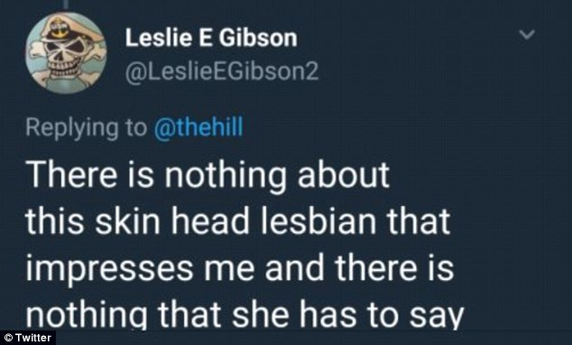 A screenshot of tweet from Leslie Gibson's twitter calling parkland survivor a skinhead lesbian