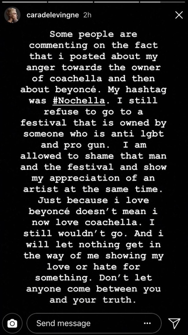 Cara Delevingne's Instagram story about Coachella