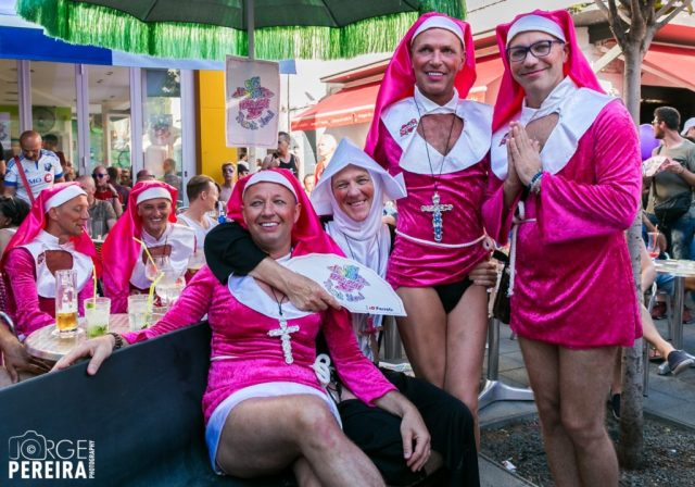 Marchers dressed up as nuns in pink at Sitges Gay Pride