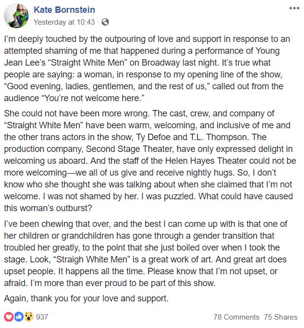 Kate Bornstein's FB post