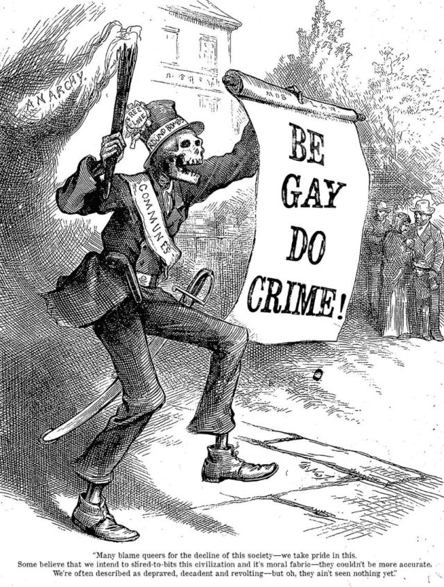 This Be Gay, Do Crime image by Io Ascarium is an adaptation of an 1880 political cartoon