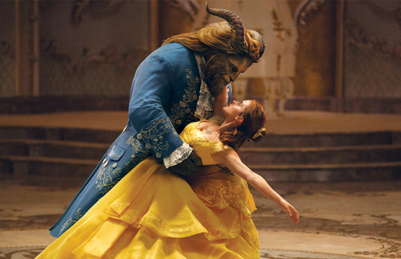 Dan Stevens as the beast, and Emma Watson as Belle in Beauty and the Beast