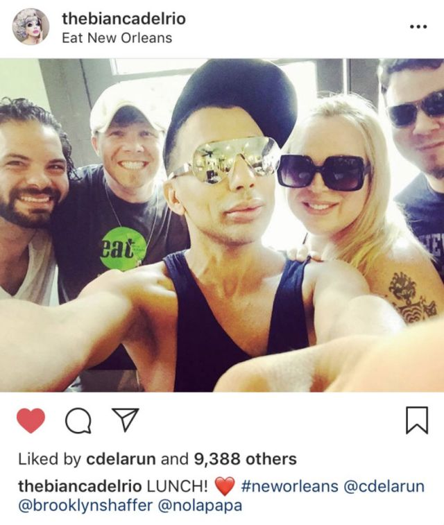 Bianca Del Rio and Erik Alexander on Bianca's Instagram