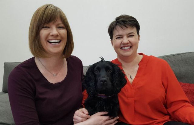Ruth Davidson and partner Jen Wilson with their dog