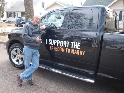 Minnesota marriage equality car wrap by Richard Herod III